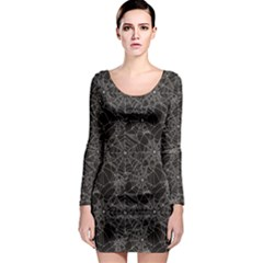 Black Halloween Spider Web Pattern Long Sleeve Bodycon Dress by CoolDesigns