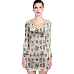 Gray Pattern With Watercolor Beetles Long Sleeve Bodycon Dress by CoolDesigns