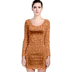 Orange Pattern With Dog Paw Print Bone And Hearts Orange Long Sleeve Bodycon Dress by CoolDesigns