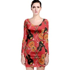 Colorful Pattern With Guitars Long Sleeve Bodycon Dress by CoolDesigns