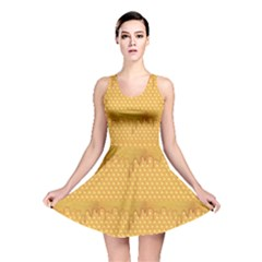 Yellow Honeycomb With Honey Reversible Skater Dress by CoolDesigns