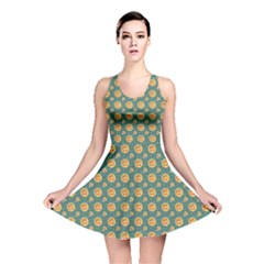 Green Pizza Pattern Reversible Skater Dress by CoolDesigns