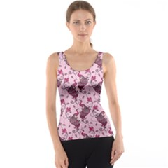 Purple Pattern Of Beautiful Pink Magic Peacocks Tank Top by CoolDesigns