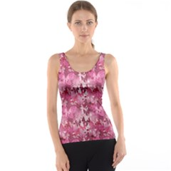 Purple Valentine Pattern With Transparent Pink And Purple Butterflies Tank Top by CoolDesigns
