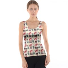 Colorful Pattern Of Different Retro Music Gadgets Tank Top by CoolDesigns