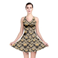 Brown Pattern With Owl Reversible Skater Dress by CoolDesigns