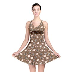 Brown The Cups With Coffee And Foam In The Shape Reversible Skater Dress by CoolDesigns