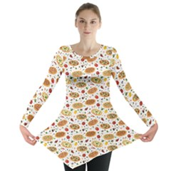 Colorful Pattern With Different Pizza And Spices Long Sleeve Tunic Top by CoolDesigns