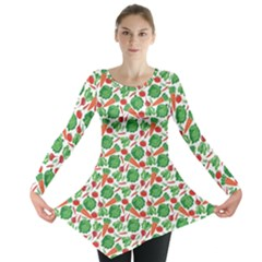 Green Vegetable Pattern Long Sleeve Tunic Top by CoolDesigns