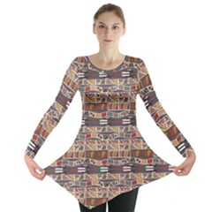 Brown In The African Style Long Sleeve Tunic Top by CoolDesigns