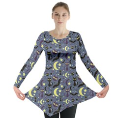 Blue Cute Pattern Night Life Cats And Bats Long Sleeve Tunic Top by CoolDesigns