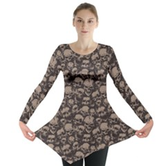 Black Grunge Pattern With Skulls Illustration Long Sleeve Tunic Top by CoolDesigns