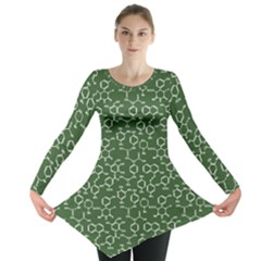 Green Organic Chemistry Pattern With Formulas Long Sleeve Tunic Top by CoolDesigns