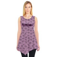 Violet A Pattern With Dinosaur Silhouettes Sleeveless Tunic Top by CoolDesigns