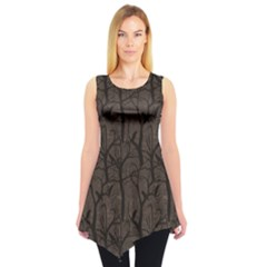 Black Pattern With Ravens Sleeveless Tunic Top by CoolDesigns