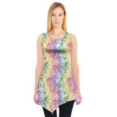 Colorful Pastel Rainbow Petals Sleeveless Tunic Top by CoolDesigns