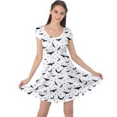 Black Pattern Bats Cap Sleeve Dress by CoolDesigns