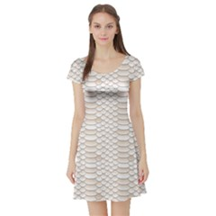 Nude Snake Skin Texture Pattern White Short Sleeve Skater Dress by CoolDesigns