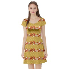Orange Pattern Edible Mushrooms Short Sleeve Skater Dress by CoolDesigns