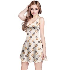 Colorful Matryoshka Russian Wooden Doll Cartoon Pattern Reversible Sleeveless Dress