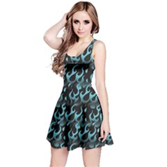 Blue Hot Blue Flames Pattern Reversible Sleeveless Dress