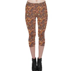 Brown Pattern Steampunk Mechanism Metal Capri Leggings by CoolDesigns