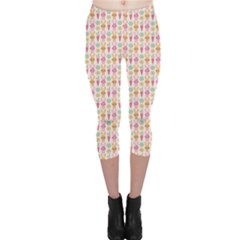 Colorful Rabbit Pattern Wallpaper Capri Leggings by CoolDesigns