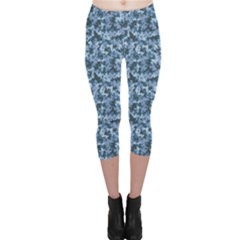 Blue Camouflage Pattern Capri Leggings by CoolDesigns