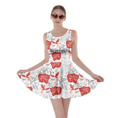 Red Hawaiian Patterns Hibiscus And Hummingbirds Skater Dress by CoolDesigns