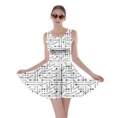 Black Printed Circuit Pattern Skater Dress