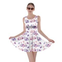 Purple Floral Pattern Flowers In Watercolor Style Skater Dress