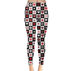 Red Black And White Checkered Pattern Red Hearts Pattern Leggings by CoolDesigns