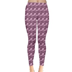 Pink Pattern Pink Cats On A Purple Leggings by CoolDesigns