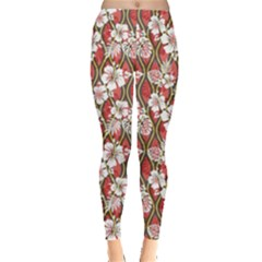 Red Aloha Shirt Pattern Leggings