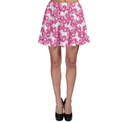 Pink Cute Unicorn Pattern Stars Skater Skirt by CoolDesigns