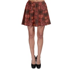 Red Asian Butterfly Japanese Flower Pattern Skater Skirt by CoolDesigns