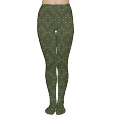 Dark Green Flower And Cross Pattern Tights by CoolDesigns