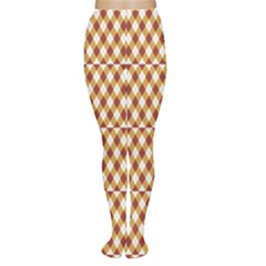 Orange Argyle Pattern Diamond Shapes Tights by CoolDesigns