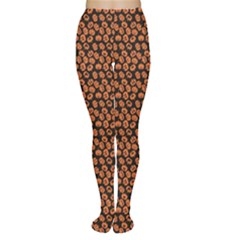 Brown Halloween Pattern With Simple Cute Pumpkins Tights