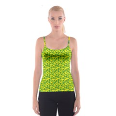 Green Abstract Pattern With Leaves Spathetti Strap Top by CoolDesigns