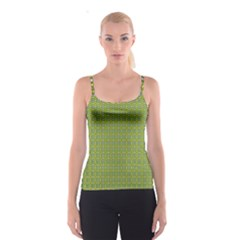 Green Graphic With Pattern Spathetti Strap Top by CoolDesigns