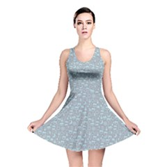 Blue Pattern Of Weather Icons Reversible Skater Dress by CoolDesigns