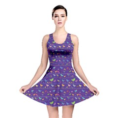 Blue Retro Funny Bird Pattern Design Element Reversible Skater Dress by CoolDesigns