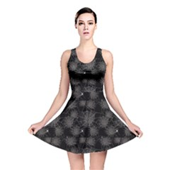 Black Web Spiders Pattern Reversible Skater Dress by CoolDesigns