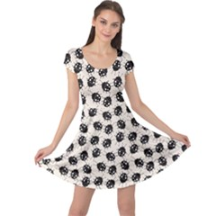 Black Elegant Pattern With Ladybugs Cap Sleeve Dress by CoolDesigns