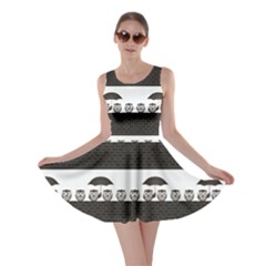 Black Monochrome Comical Birds Sheltering Skater Dress by CoolDesigns