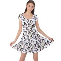 Black Pattern With Cartoon Penguins Cap Sleeve Dress by CoolDesigns