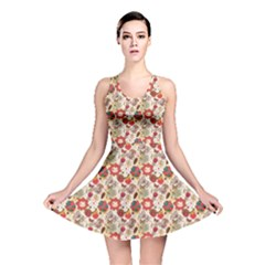 Red Floral Pattern In Retro Style Reversible Skater Dress by CoolDesigns