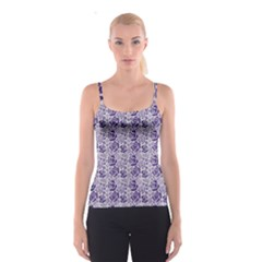 Blue Pattern Of Blue Roser Spathetti Strap Top by CoolDesigns
