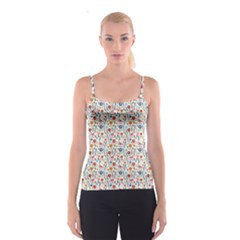 Yellow Floral Flowers Plants Pattern Spathetti Strap Top by CoolDesigns